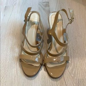 Kate Spade wedge sandals nude patent 8.5